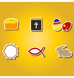 Color icons with easter symbols vector
