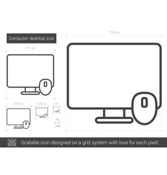 Computer desktop line icon vector