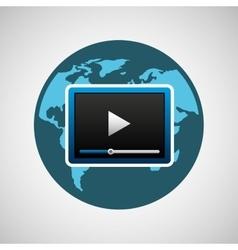 concept globe play social media vector image
