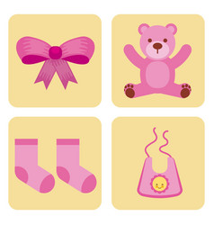 cute design elements for baby shower vector image