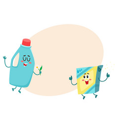funny detergent bottle and washing powder vector image