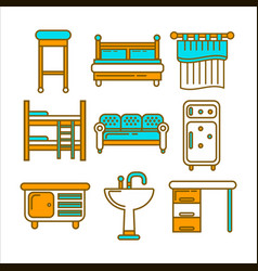 Furniture pieces colorful graphic set isolated on vector
