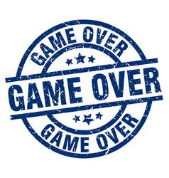 Game over blue round grunge stamp vector
