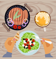 grilled sausages and beer vector image vector image