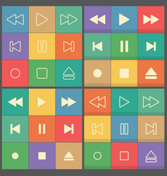 Icons buttons for flat ui player vector