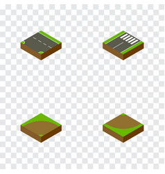 Isometric road set of sand footer turn vector