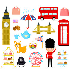 london cartoons set vector image vector image