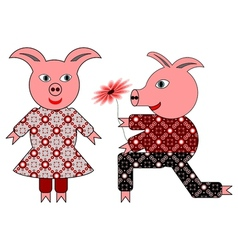 Love between two pigs vector image