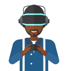Man in oculus rift and console in hands vector