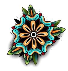 Old school tattoo flower vector image vector image