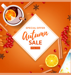 orange background for autumn seasonal sale vector image vector image