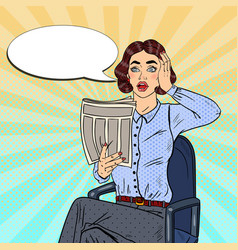 Pop art shocked woman reading a newspaper vector
