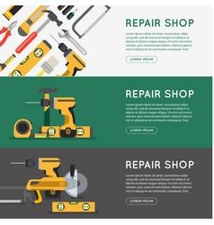 Repair tool shop banner set vector