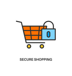 Secure shopping icon vector