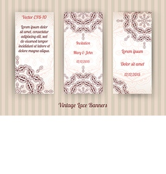 Set of 3 vintage lace banners vector