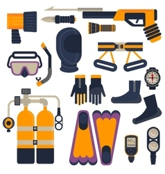 set of diving equipment vector image