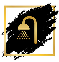 Shower sign golden icon at black spot vector