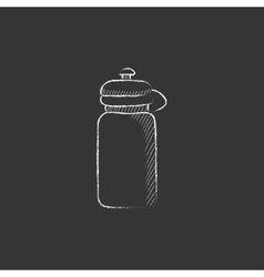 Sport water bottle Drawn in chalk icon vector image