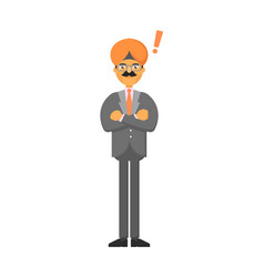 Standing indian businessman with hands folded vector