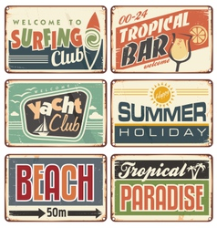 Summer holiday vintage sign boards collection vector
