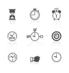 Time management clock icons set vector image vector image