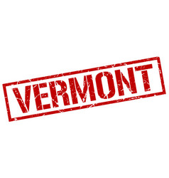 Vermont red square stamp vector