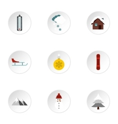 Winter holidays icons set flat style vector