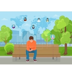 Young guy sitting in the modern city street park vector