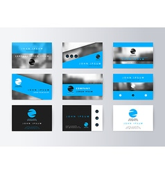 Set of business cards blue background template vector