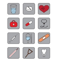 Set of bright medical icons set with tablet vector