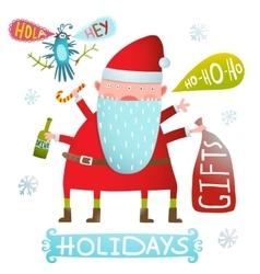 Happy Christmas or New Year Holidays Monster Santa vector image