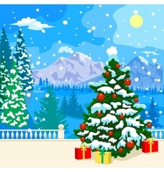 Winter snowy landscape New Year card vector image