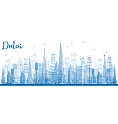 outline dubai skyline with city skyscrapers vector image