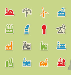 Industrial building icon set vector