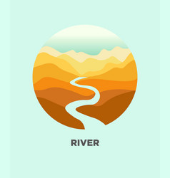 desert river canyon landscape isolated icon vector image