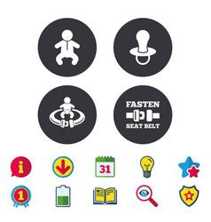 Baby infants icons fasten seat belt symbols vector