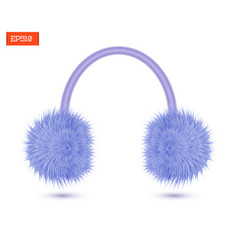 Realistic furry winter headphones isolated on vector