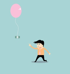Businessman chasing money vector
