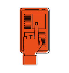 Hand tapping with index finger smartphone with app vector