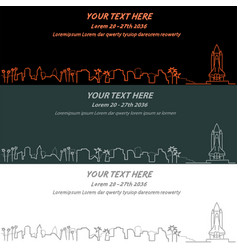 Cape canaveral event banner hand drawn skyline vector