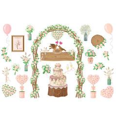 Wedding elements set vector