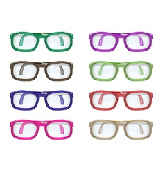 set of color glasses vector image
