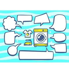 Washing machine with speech comics bubble vector