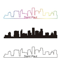 Saint paul skyline linear style with rainbow vector