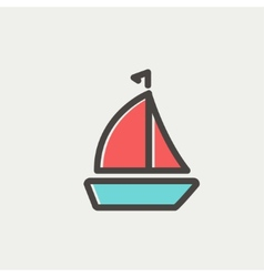 Sailboat thin line icon vector
