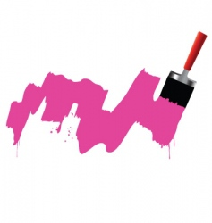 Brush and pink paint vector