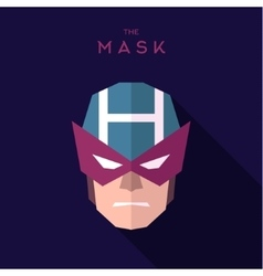 Mask superhero burgundy strict hero to flat design vector image