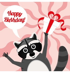 Happy birthday raccoon vector