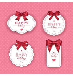 Beautiful cards with gift bows ribbon vector