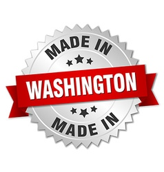 Made in washington silver badge with red ribbon vector
